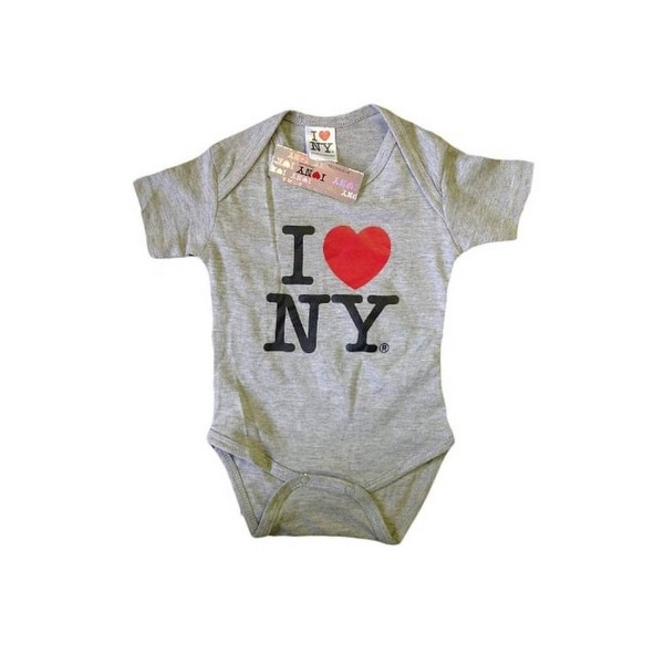 I Love NY New York Baby Infant Screen Printed Heart Bodysuit Gray Large 18 Mo...