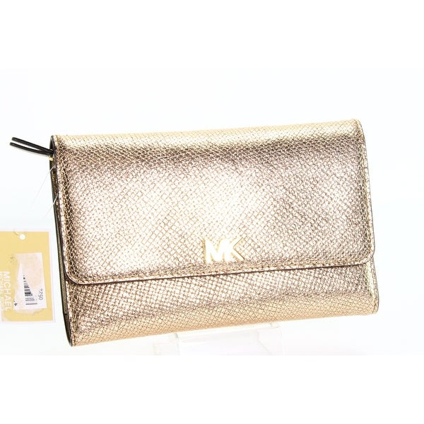 634e1e1d6142 Shop Michael Kors Gold Pebble Leather Multi-Function Clutch Wallet ...