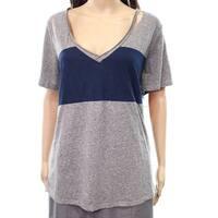Socialite Womens Medium V-Neck Cutout T-Shirt Knit Top