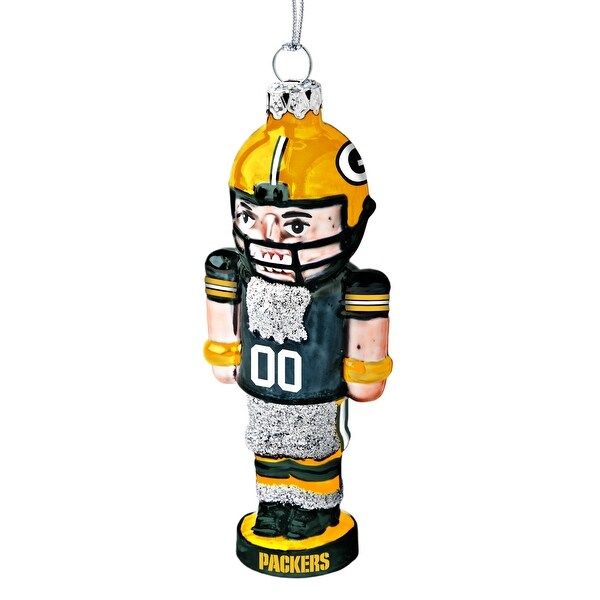 "NFL Green Bay Packers Football Nutcracker Ornament, 4"", Silver"