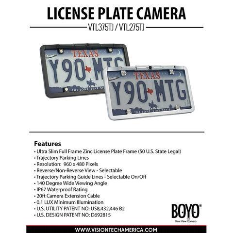 Boyo vtl275tj ultra slim full frame license plate camera with trajectory parking lines chrome
