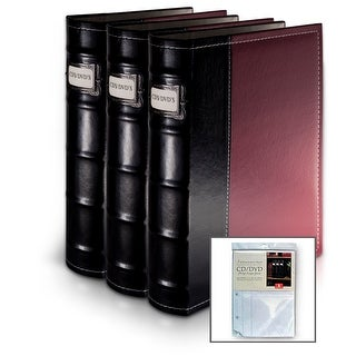 Bellagio-Italia Burgundy Leather CD/DVD Binder 3 pack with 8 Bonus Insert Sheets