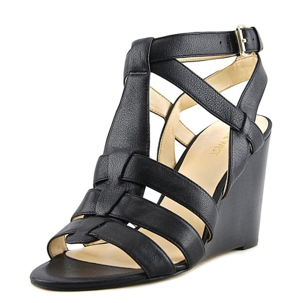 Nine West Farfalla Women Open Toe Leather Black Wedge Sandal