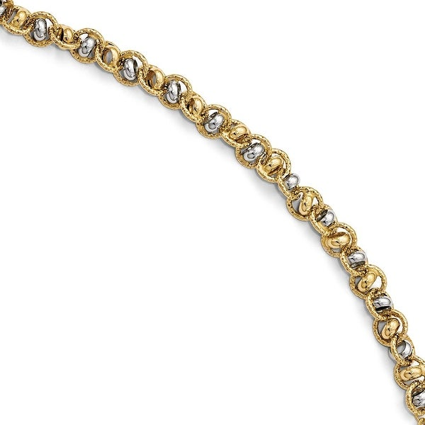Italian 14k Two-Tone Gold Hammered Link Bracelet - 7.5 inches