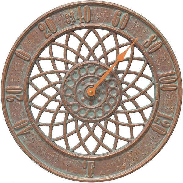 Whitehall Products Spiral 14-in Indoor Outdoor Wall Thermometer (Copper Verdi) - copper verdi