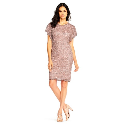 Adrianna Papell Beaded Cocktail Dress with Flutter Sleeves