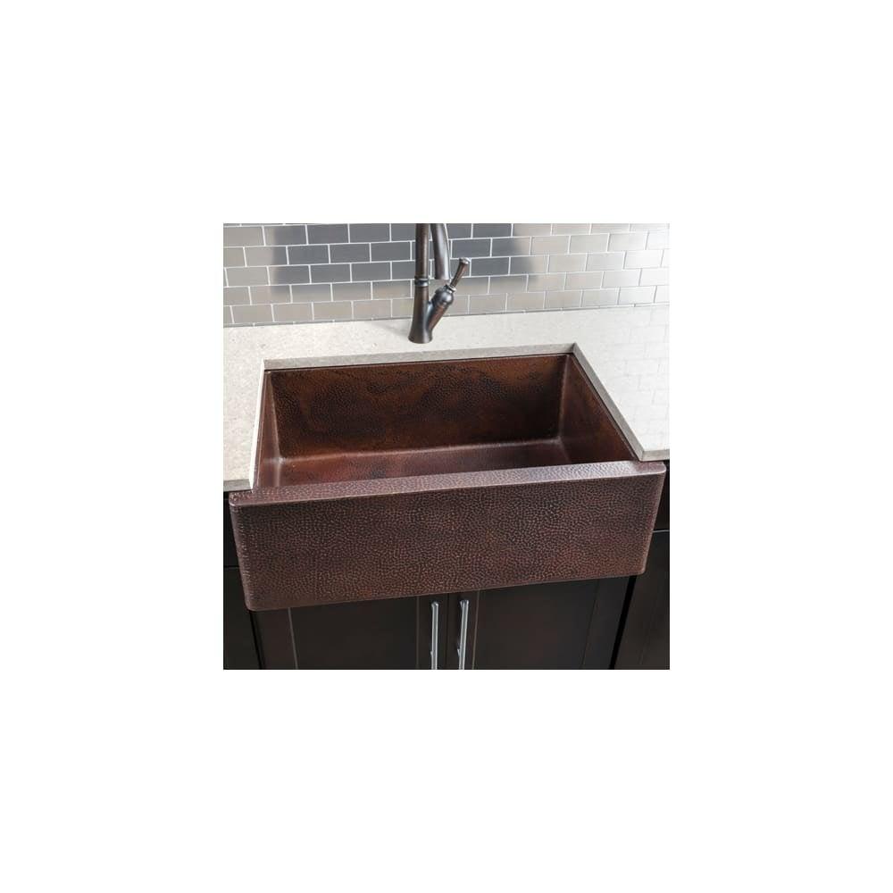 Shop Miseno Mc3322f 33 Single Basin Copper Farmhouse Kitchen Sink Hammered Antique Copper Overstock 12917610