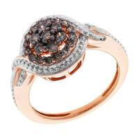 Prism Jewel 0.34Ct Brown Natural Color Diamond Cluster Engagement Ring