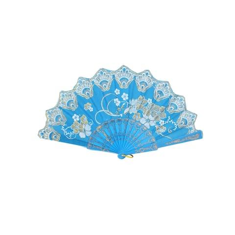 Unique Bargains Plastic Rib Glittery Powder Decor Flower Printed Folding Hand Fan Sky Blue