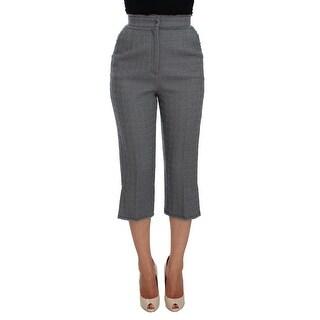 Dolce & Gabbana Dolce & Gabbana Gray Wool Stretch High Waist 3/4 Pants - it40-s