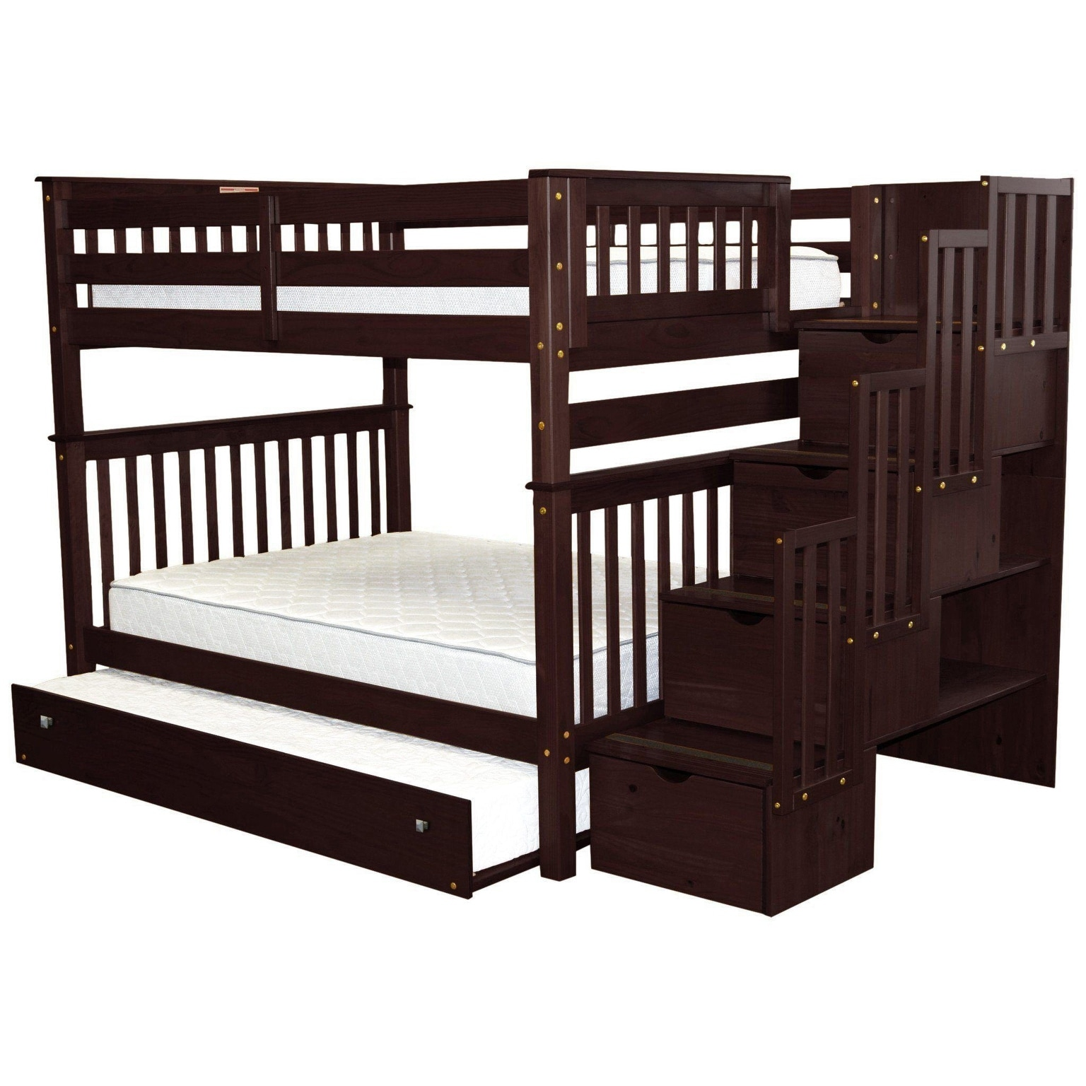 Picture of: Bedz King Stairway Bunk Beds Full Over Full With 4 Drawers In The Steps And A Full Trundle Cappuccino Overstock 22087646