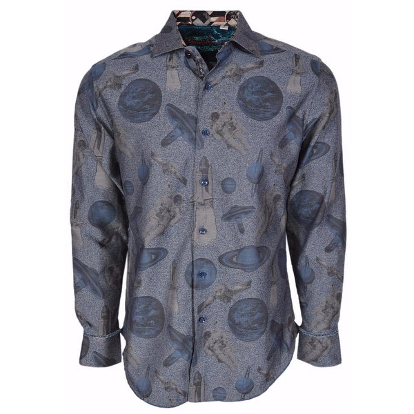 Robert Graham Classic Fit Blue Planets Very Limited Edition Sport Shirt 4XL