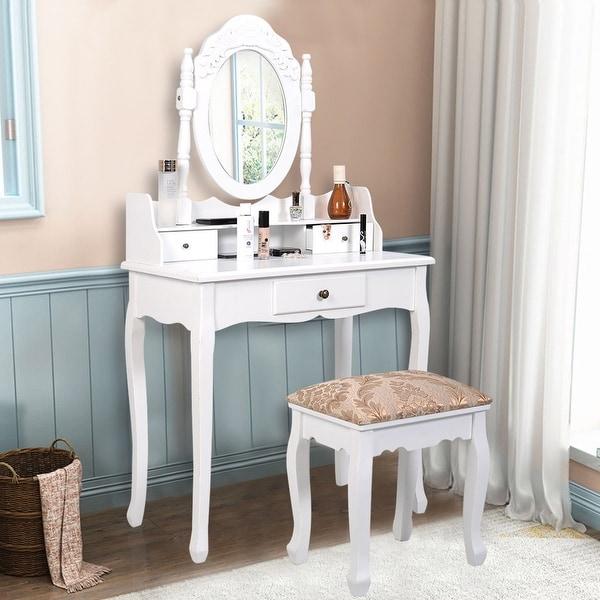 Costway Vanity Table Jewelry Makeup Desk Bench Dresser w/ Stool 3 Drawer bathroom White