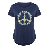 Floral Peace Sign  - Ladies Plus Size Scoop Neck Tee