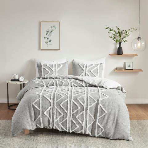 Hayes Gray Chenille Cotton Comforter Set by INK+IVY