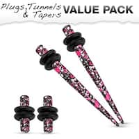 Pink & Purple Splatter IP 316L Steel Plug & Taper with O-Ring Set Value Pack