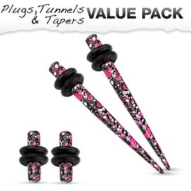 Pink & Purple Splatter IP 316L Steel Plug & Taper with O-Ring Set Value Pack