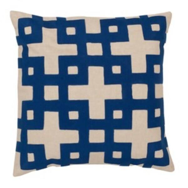 "20"" Ionic Flow Canvas Beige and Royal Blue Decorative Square Throw Pillow"