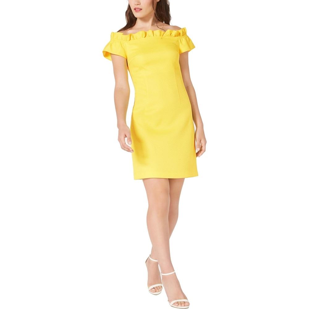 Trina Turk Womens Seek Mini Dress Textured Ruffled - Yellow by  Spacial Price