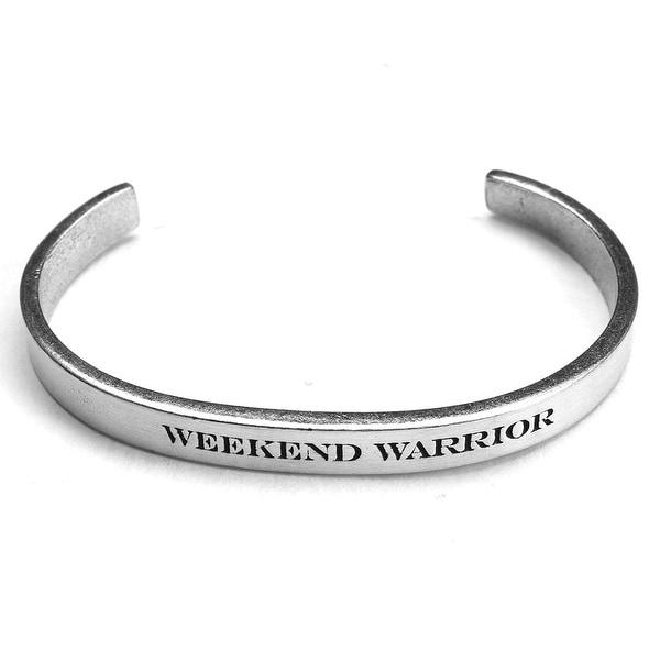 Women's Note To Self Inspirational Lead-Free Pewter Cuff Bracelet - Weekend Warrior