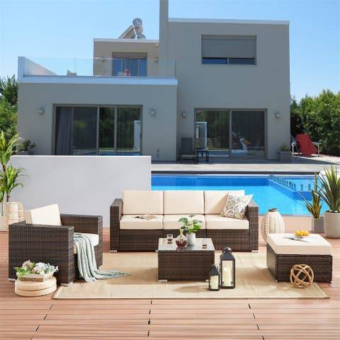 6 Pieces Outdoor Patio Furniture Sets Rattan Sectional Set