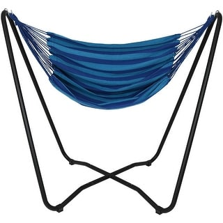 Sunnydaze Hanging Hammock Chair Swing with Space-Saving Stand - Beach Oasis