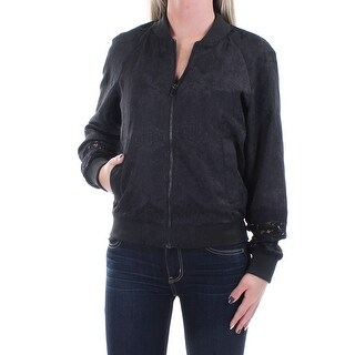 FRENCH CONNECTION $298 Womens New 1492 Black Floral Pocketed Bomber Jacket 2 B+B