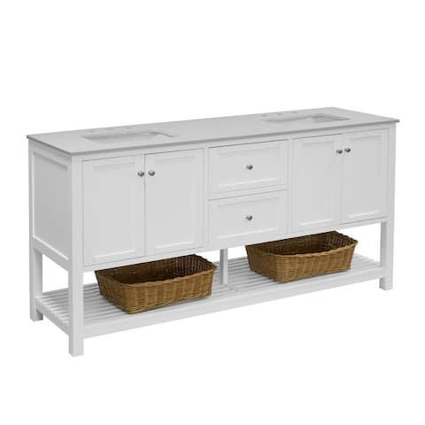 """KitchenBathCollection Lakeshore 72"""" Double Bathroom Vanity with Quartz Top"""