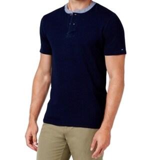 Tommy Hilfiger NEW Blue Mens Size Large L Henley Short Sleeve Shirt