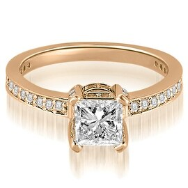 1.15 cttw. 14K Rose Gold Princess And Round Cut Diamond Engagement Ring
