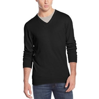 American Rag Lightweight Cotton V-Neck Sweater Deep Black