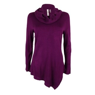 NY Collection Women's Cowl Asymmetrical Tunic Sweater