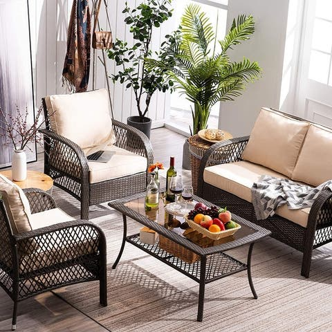 Mcombo Patio Furniture Sectional Set,4 Pieces Outdoor Wicker Sofa 6082-9576