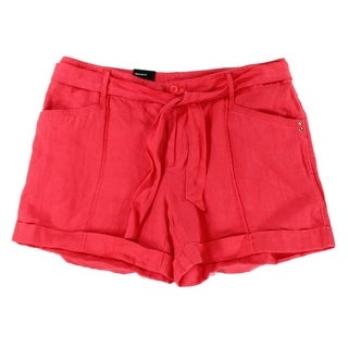 INC NEW Pink Polished Coral Women's Size 2 Linen Belted Cuffed Shorts