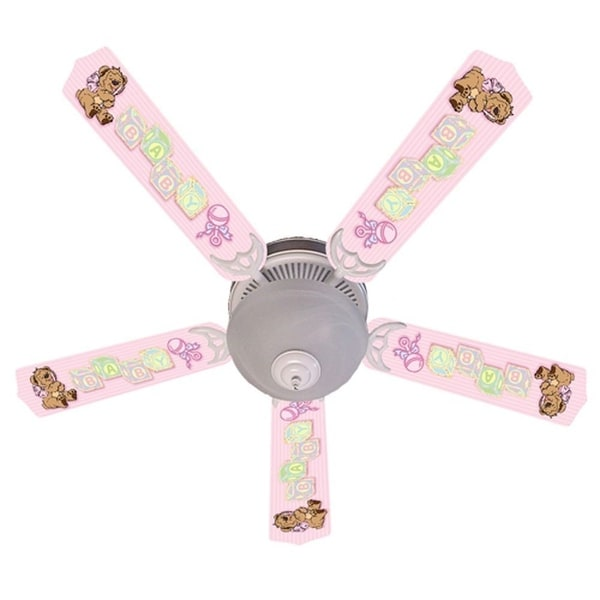 Pink Teddy Bear and Blocks Designer 52in Ceiling Fan Blades Set - Multi