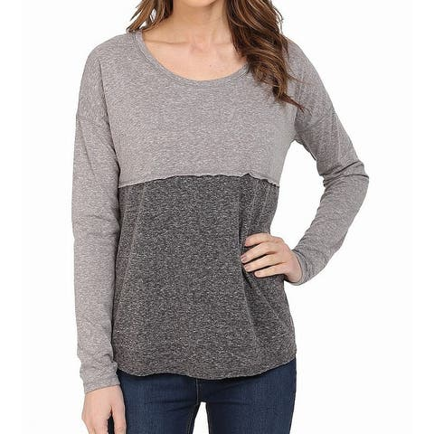 Mavi Jeans Gray Womens Size Large L Scoop-Neck Two-Tone Knit Top