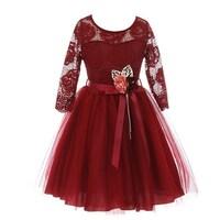 c7ad86a4c49f Little Girls Burgundy Floral Lace Long Sleeve Mesh Overlay Flower Girl Dress