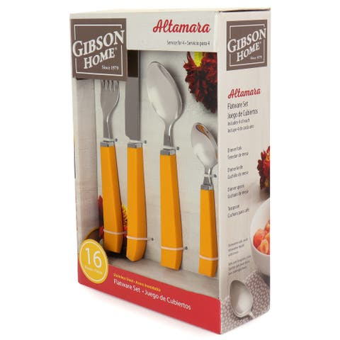 Gibson Home Altamara 16 Piece Flatware Set In Orange, Service for 4