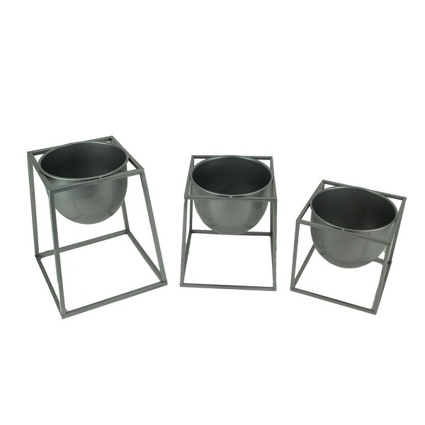Metallic Silver Metal Modern Planter Bowls in Angular Stands Set of 3 - 13 X 11 X 11 inches