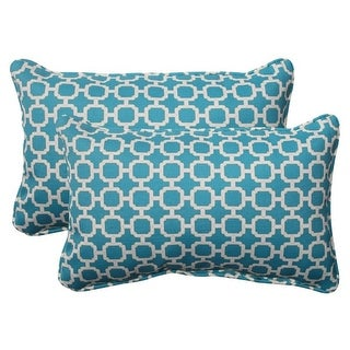 "Set of 2 Moroccan Mosaic Blue Outdoor Furniture Rectangular Throw Pillows 18.5"""