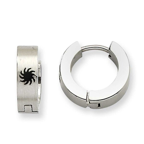 Chisel Stainless Steel Fancy Design Hinged Hoop Earrings
