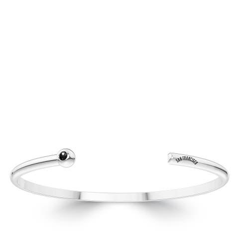 San Francisco Giants Engraved Sterling Silver Black Onyx Cuff Bracelet