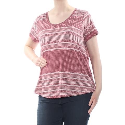 LUCKY BRAND Womens Maroon Polka Dot Striped Short Sleeve Scoop Neck T-Shirt Top Plus Size: 1X