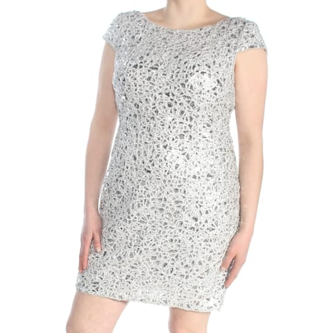 ADRIANNA PAPELL Womens Silver Sequined Metallic Cap Sleeve Jewel Neck Cocktail Dress Petites Size: 16