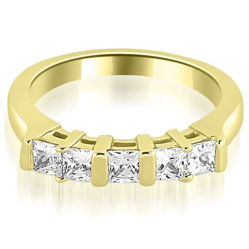 0.60 cttw. 14K Yellow Gold Five Stone Princess Cut Diamond Wedding Band