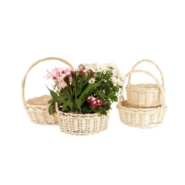 Wald 0128/WW Set Of 4 Whitewash Willow Baskets