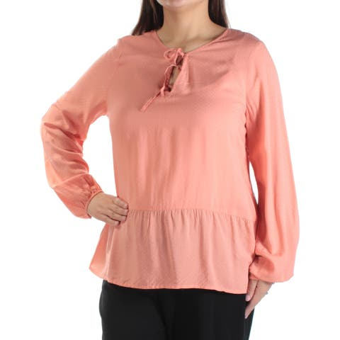 SANCTUARY Womens New 1277 Orange Pleated Jewel Neck Long Sleeve Top XL