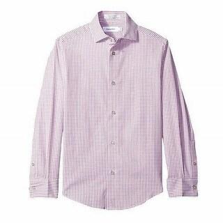 Calvin Klein NEW Rose Pink Boys Size 20 Button-Down Plaid Collar Shirt