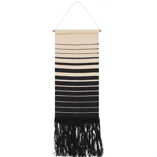 """38"""" Cream and Black Striped Pattern Hand Woven Fringed Wall Hanging - N/A"""