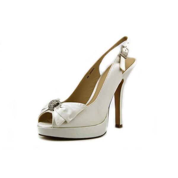 Brianna Leigh Crown Peep-Toe Canvas Slingback Heel